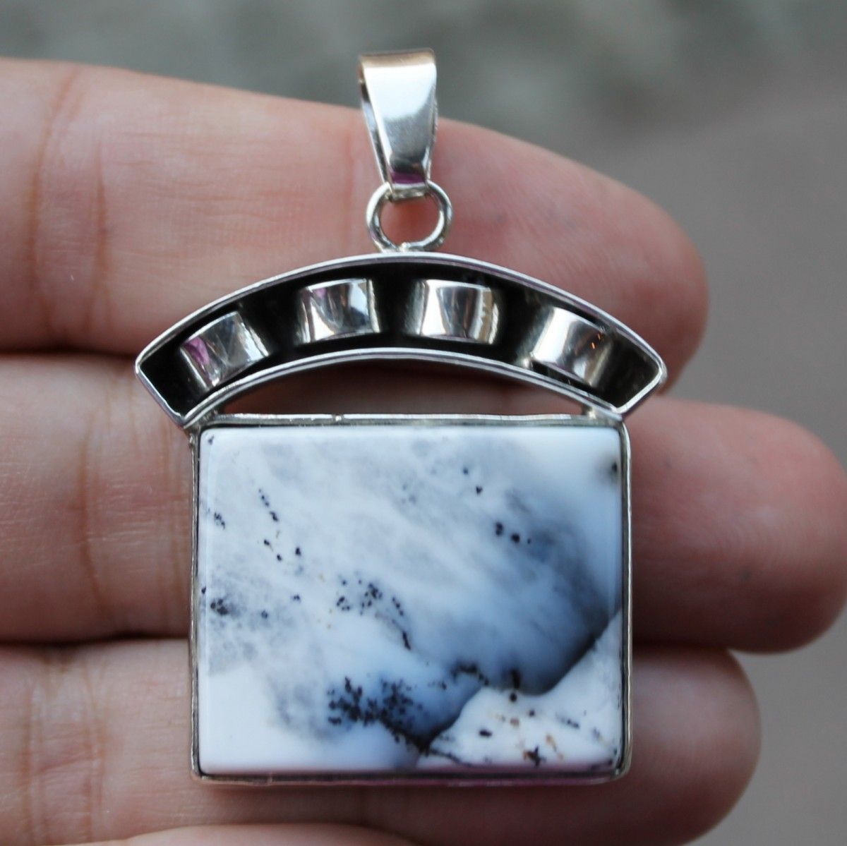 Dendrite opal, ring, sterling silver