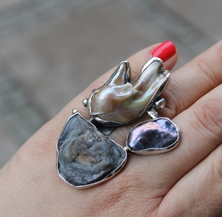 Amorite chalcedony rose, pearls, ring