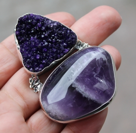 Amethyst pendant,  Sterling silver