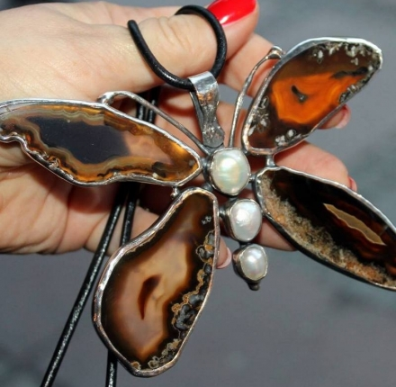 Butterfly, agate, pearls, pendant,  Sterling silver