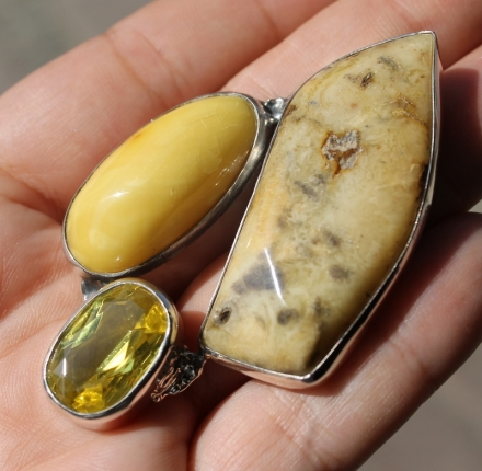 Faceted lemon quartz, amber, pendant, silver