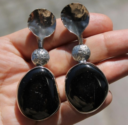 Agate, earrings, silver