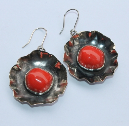 Coral, earrings, sterling silver