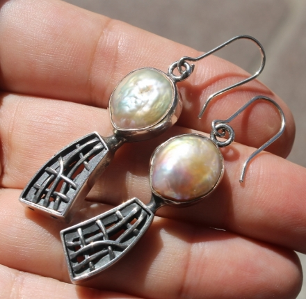 Pearl, earrings, silver