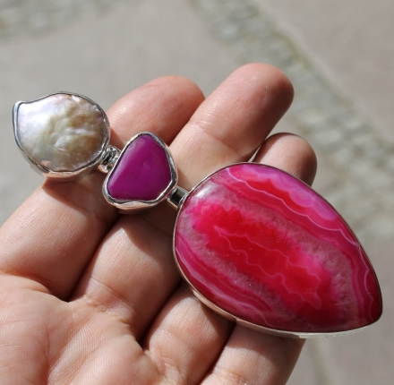 Agate, pearl chalcedony, pendant, sterling silver