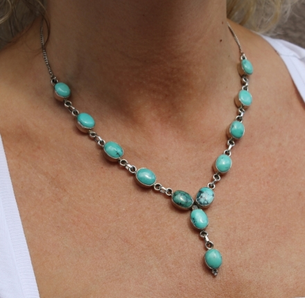 Turquoise, necklace sterling silver