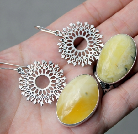 Amber, earrings, sterling silver