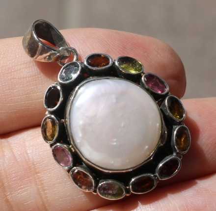 huge pearl, colored faceted tourmalines, pendant, silver