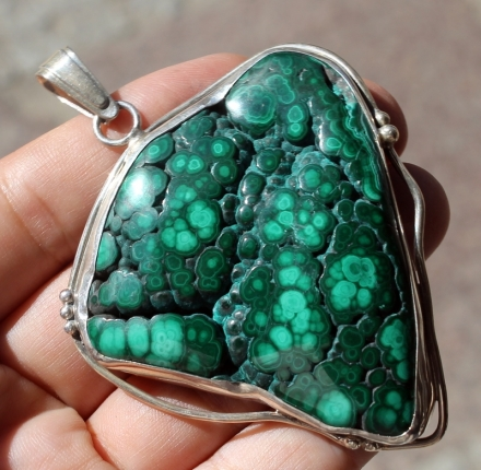 Malachite, pendant, sterling silver