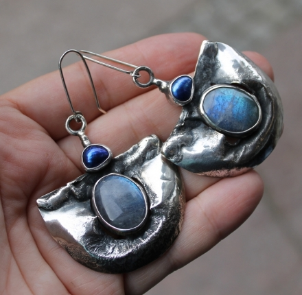 Labradorite, pearl, earrings, sterling silver