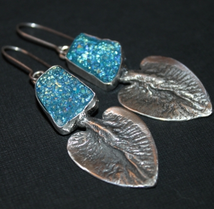 Titanium druse , earrings, silver
