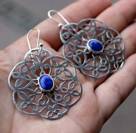 Lapis lazuli, earrings, silver