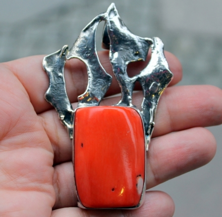 Coral, pendant, sterling silver