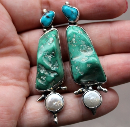 Turquoise,pearl, earrings, sterling silver