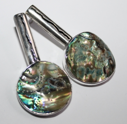 Shell paua, earrings, sterling silver