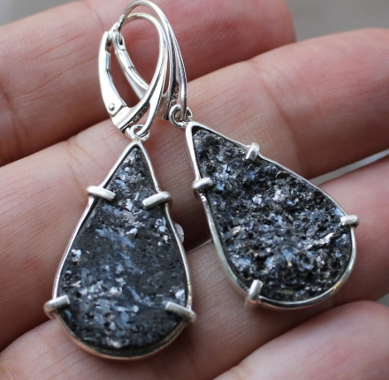 Piryt druse, earrings, sterling silver