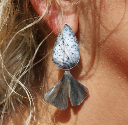 Opla dendrite, earrings, sterling silver
