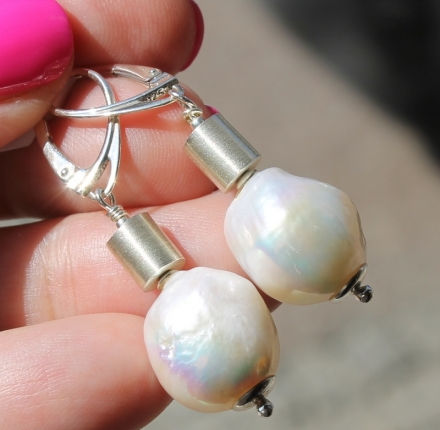 Pearls, earrings, silver