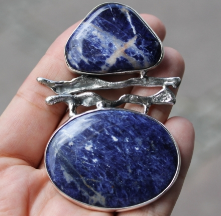 Sodalite, pendant, sterling silver