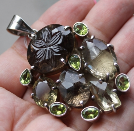 Peridot,topaz, pedant, sterling silver