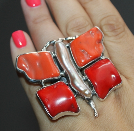 Ring, caverd coral, pearl,sterling silver