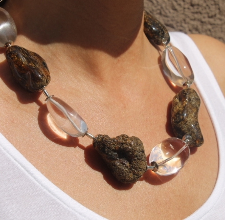 Amber,cristal, necklace sterling silver