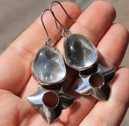 Crystal, earrings, silver