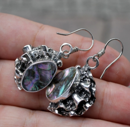 Sell abalone, earrings,  sterling silver