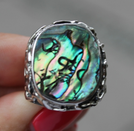 Shell abalone, ring, sterling silver