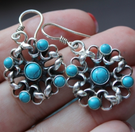Turquise, earrings, silver