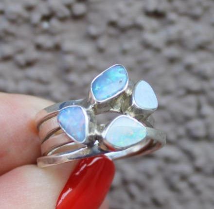 opal, sterling silver, ring