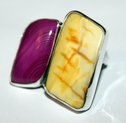 Agate,amber, ring, silver