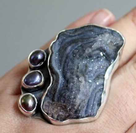 Chalcedon.baroque pearl, ring, sterling silver