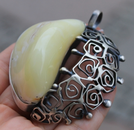 Milky amber, pendant, sterling silver