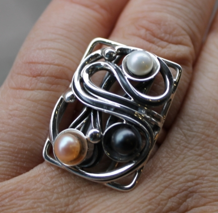 pearls, ring, silver