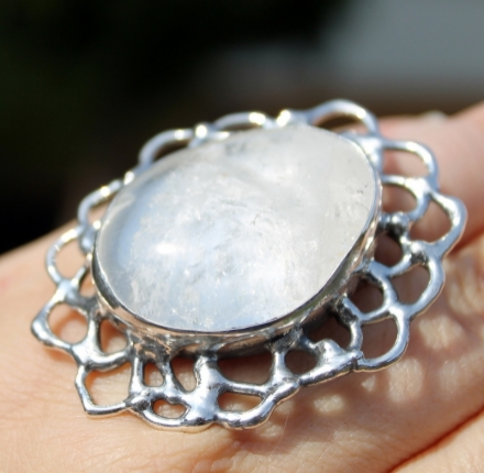 Crystal, ring, sterling silver