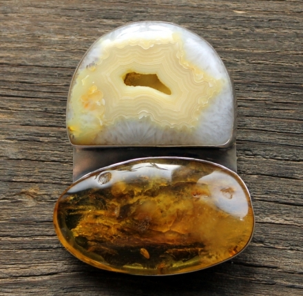 Huge agate, amber, pendant, sterling silver