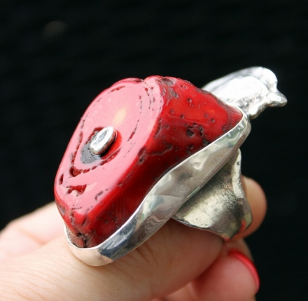 Coral, ring, sterling silver