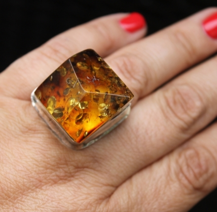 Amber, ring, sterling silver