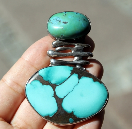 Turquoise, pendant, sterling silver