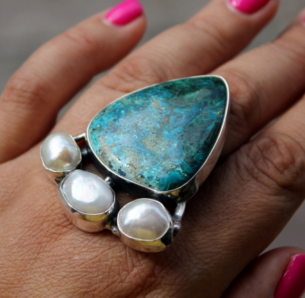 Chrysokola,pearls, ring, sterling silver