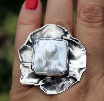 Baroque huge pearl, ring, sterling silver