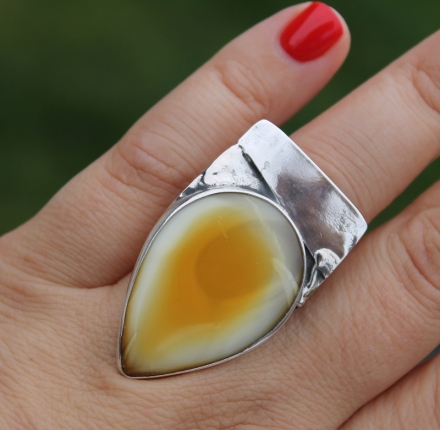 Amber, ring, silver