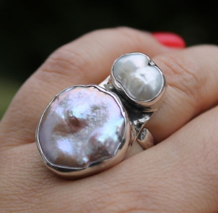 Pearls, ring, sterling silver