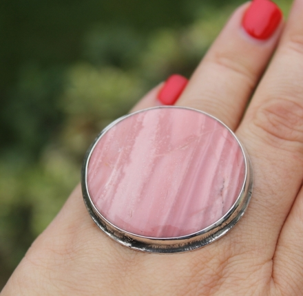 Rose opal, ring, sterling silver