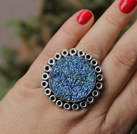 Drusy titanum, ring, sterling silver
