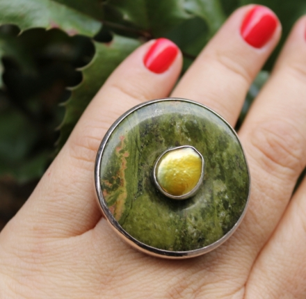 Jasper and pearl, ring, sterling silver