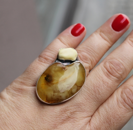 Natural amber, ring, sterling silver