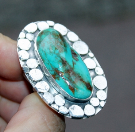 Turquoise, ring, sterling silver