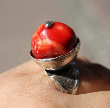 Beautiful Coral, ring, sterling silver